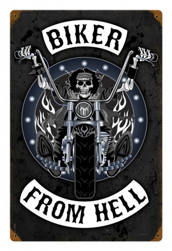 Retro Biker From Hell Metal Sign 12 x 18 Inches