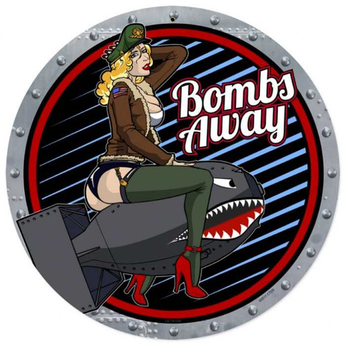 Retro Bombs Away  - Pin-Up Girl Metal Sign 14 x 14 Inches