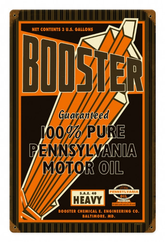 Retro Booster Motor Oil Metal Sign 12 x 18 Inches