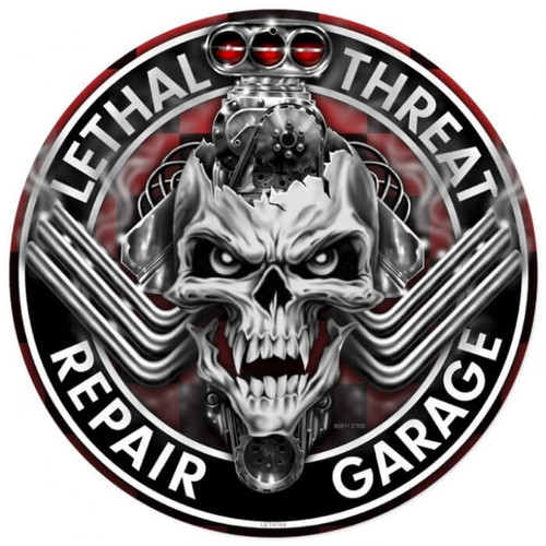 Engine Skull Round Metal Sign 14 x 14 Inches