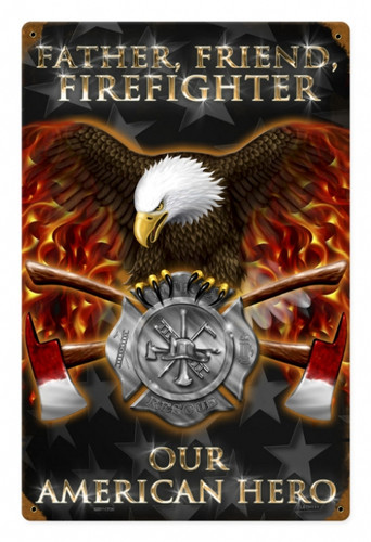 Retro Firefighter Metal Sign 12 x 18 Inches