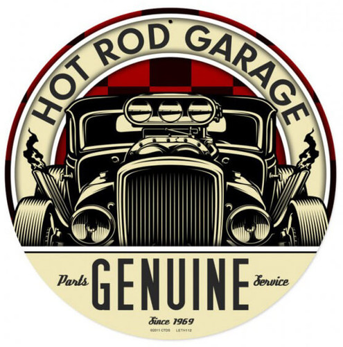 Retro Genuine Hot Rod Metal Sign 14 x 14 Inches