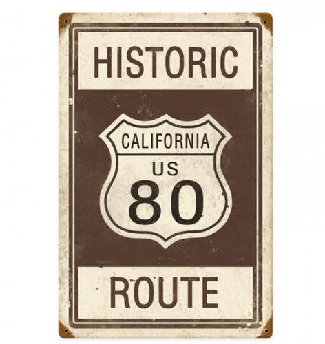 Retro Historic Route 80 Metal Sign 12 x 18 Inches