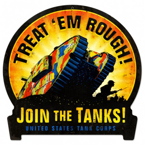 Retro Join The Tanks Metal Sign 15 x 16 Inches