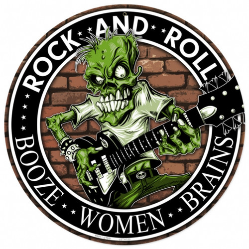 Retro Rock n Roll Round Metal Sign 14 x 14 Inches