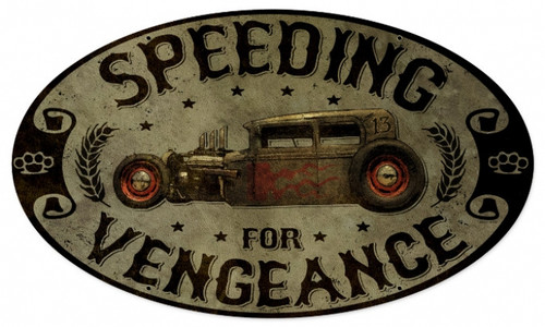 Vintage Speeding Vengance Oval Auto Metal Sign  24 x 14 Inches