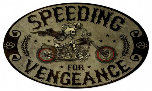 Vintage Speeding Vengance Oval Motorcycle Metal Sign 24 x 14 Inches