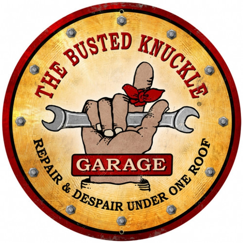 Retro Wrench Round Metal Sign
