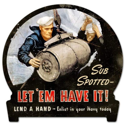 Retro Sub Spotted Round Banner Metal Sign 15 x 16 Inches