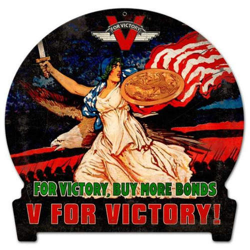 Retro V for Victory Round Banner Metal Sign 15 x 16 Inches