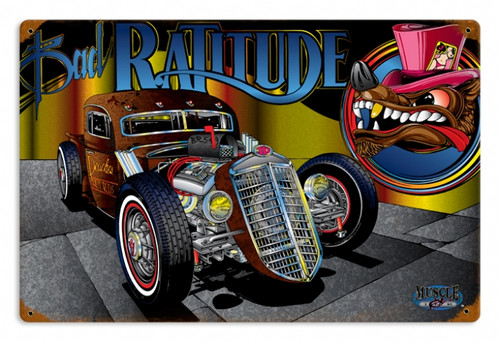 Vintage Rat Rod Ratitude  Metal Sign 12 x 18 inches