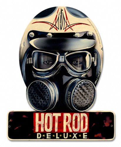 Vintage Hot Rod Deluxe Metal Sign  12 x 15 inches