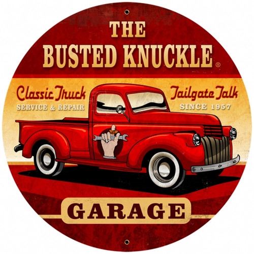 Vintage Old Truck 28 x 28 inches Round Metal Sign