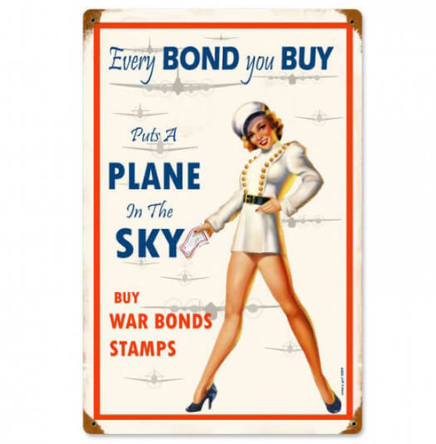 Vintage War Bonds Metal Sign 12 x 18 Inches