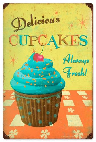 Retro Cupcake Delicious Metal Sign 16 x 24  Inches