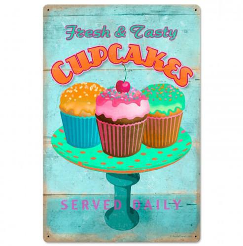 Retro Cupcake Fresh Metal Sign 16 x 24  Inches