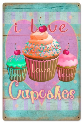 Retro Cupcake Love Metal Sign 16 x 24  Inches