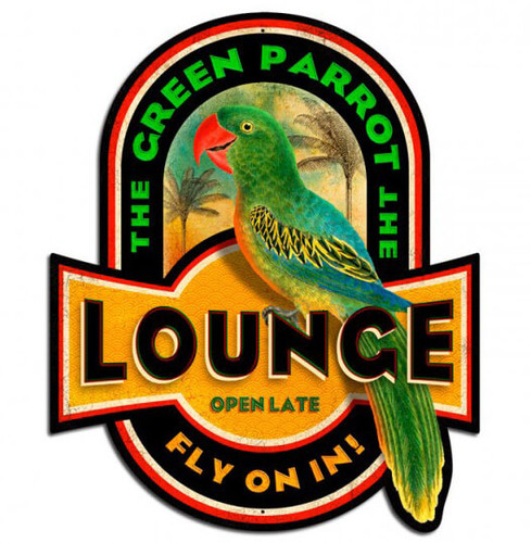 Retro Green Parrot Metal Sign 17 x 20  Inches