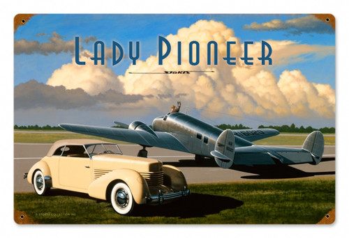 Retro Lady Pioneer Metal Sign    Inches 18 x 12 Inches