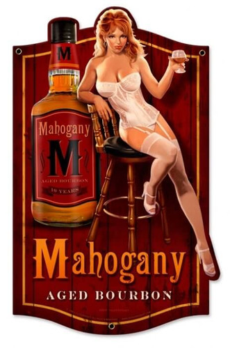 Retro Mahogany Bourbon Metal Sign 12 x 19  Inches