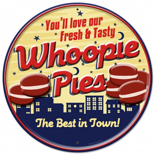 Retro Whoopie Pies Round Metal Sign 28 x 28  Inches