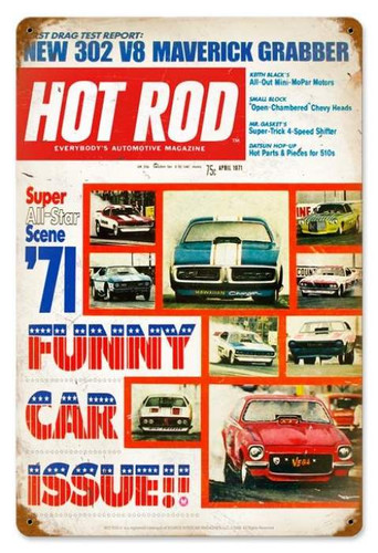 Vintage Funny Cars (Apr. 1971) Metal Sign 12 x 18 Inches