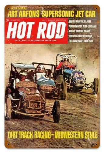 Vintage Dirt Track (Aug. 1968) Metal Sign 12 x 18 Inches