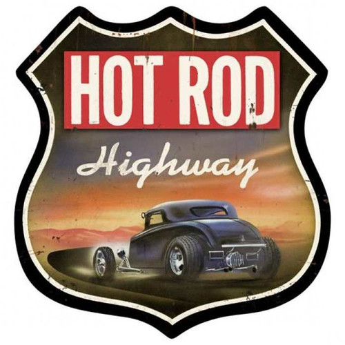 Retro Hot Rod Highway Shield Metal Sign 15 x 15 Inches