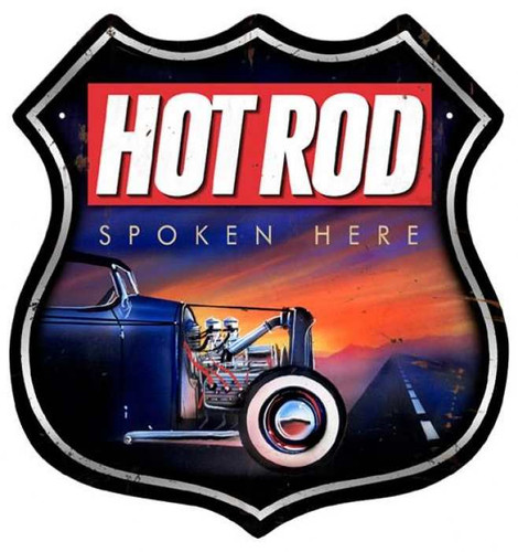 Retro Hot Rod Spoken Here Shield Metal Sign 15 x 15 Inches