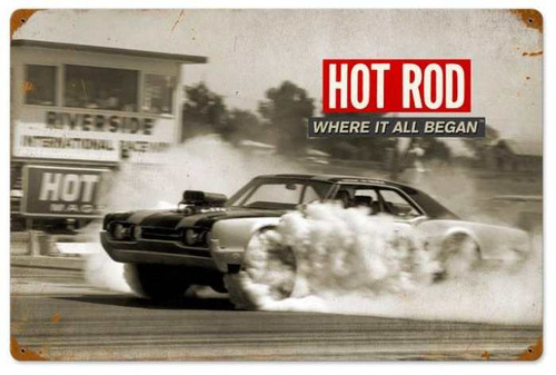 Retro Riverside: Where It All Began Hot Rod Metal Sign 24 x 16 Inches