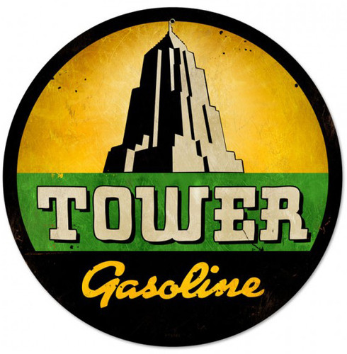 Vintage Tower Gasoline Metal Sign 14 x 14 Inches