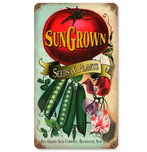 Vintage Sun Gown Seeds Metal Sign 8 x 14 Inches