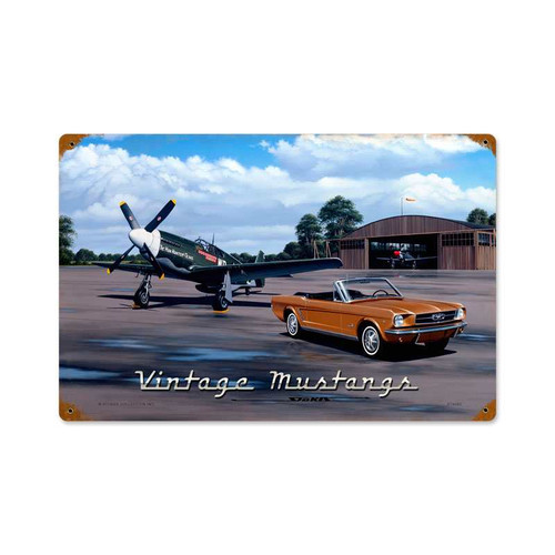 Retro Vintage Mustangs Metal Sign   Inches 18 x 12 Inches
