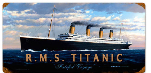 Vintage RMS Titanic Metal Sign 24 x 14 Inches