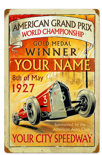 Vintage American Grand Prix Metal Sign PERSONALIZED - 16 x 24 Inches Inches