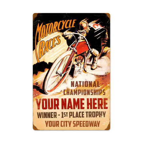 Vintage Motorcycle Races Metal Sign 16 x 24 Inches Inches