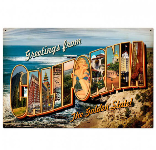 Vintage California Postcard Metal Sign 36 x 24 Inches