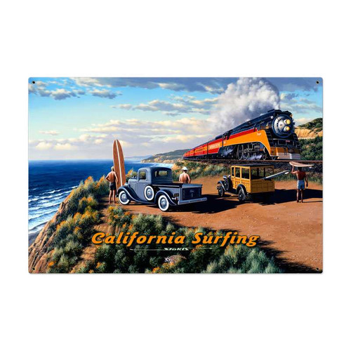 Retro California Surfing Metal Sign 36 x 24 Inches