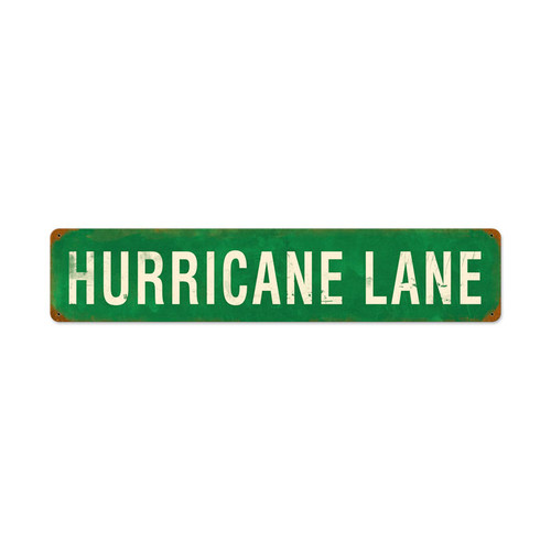 Retro Hurricane Lane Metal Sign 28 x 6 Inches
