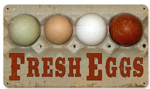 Retro Fresh Eggs Metal Sign  14 x 8 Inches