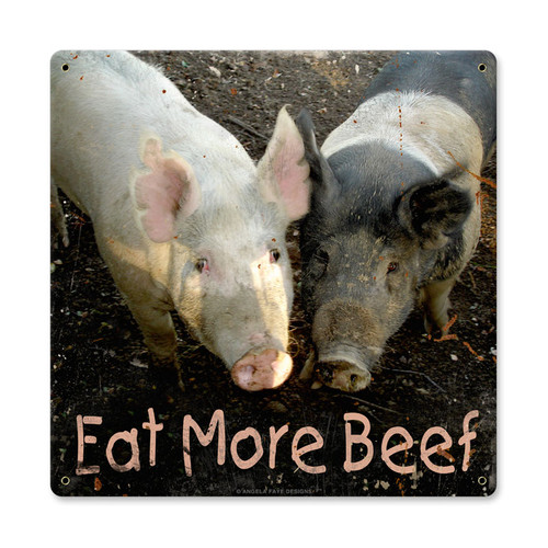 Vintage Eat More Beef Metal Sign    12 x 12 Inches