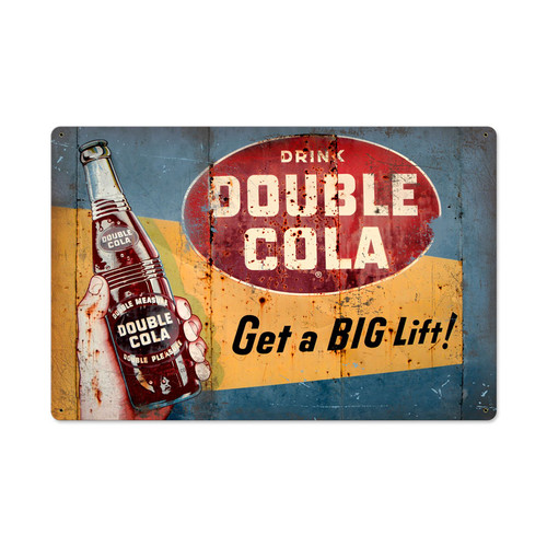 Vintage Double Cola Metal Sign  24 x 16 Inches