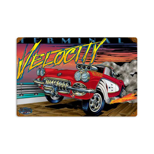 Vintage Terminal Velocity Metal Sign    18 x 12 Inches