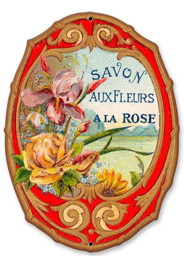 Vintage Savon Fleurs Metal Sign  8 x 10 Inches