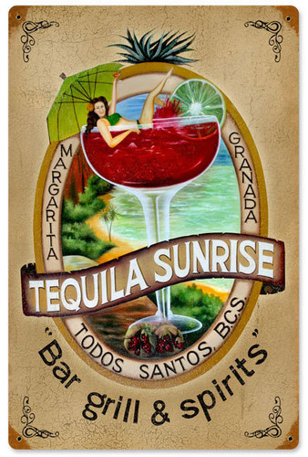 Vintage Tequila Bar Metal Sign  12 x 18 Inches