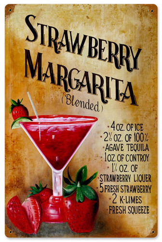 Vintage Strawberry Margaritia Metal Sign   12 x 18 Inches