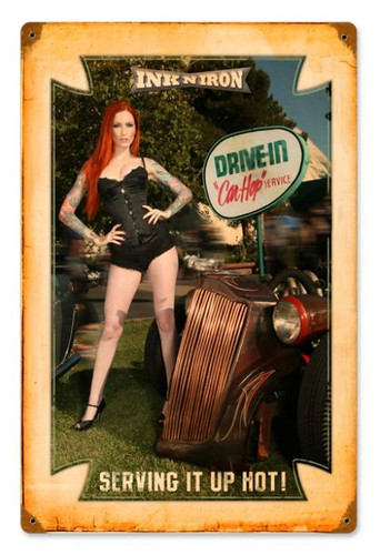 Personalized Street Signs >> Vintage Drive In - Pin-Up Girl Metal Sign 12 x 18 Inches