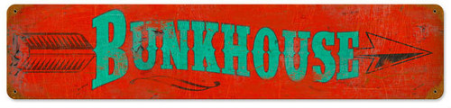 Retro Bunkhouse Metal Sign 28 x 6 Inches