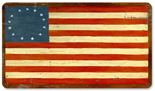 Retro US Flags 13 Stars Metal Sign  14 x 8 Inches