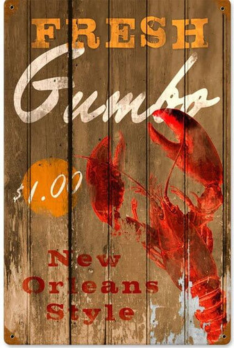 Retro Fresh Gumbo Metal Sign  12 x 18 Inches
